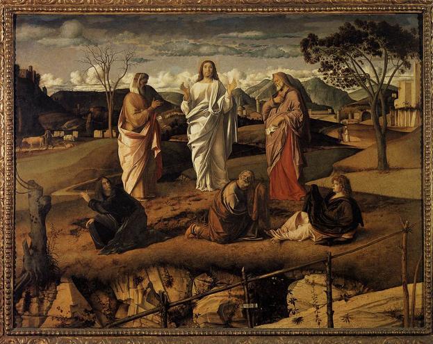 Giovanni Bellini, Przemienienie, ok. 1487, olej na drewnie, Neapol, Museum Capodimonte